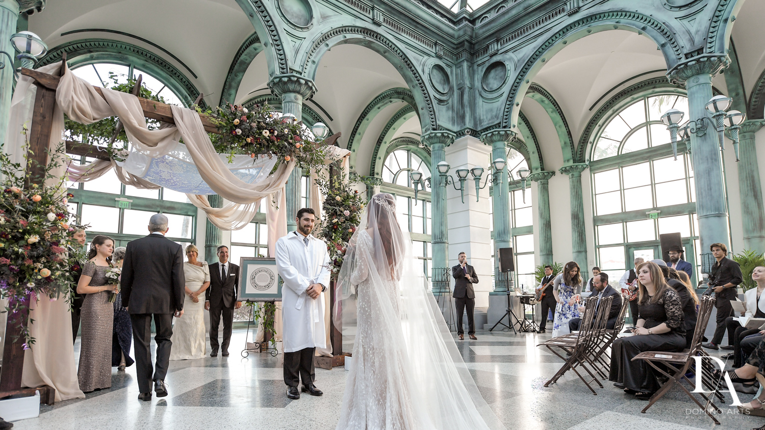 jewish ceremony at Vintage Garden Wedding at Flagler Museum Palm Beach by Domino Arts Photography
