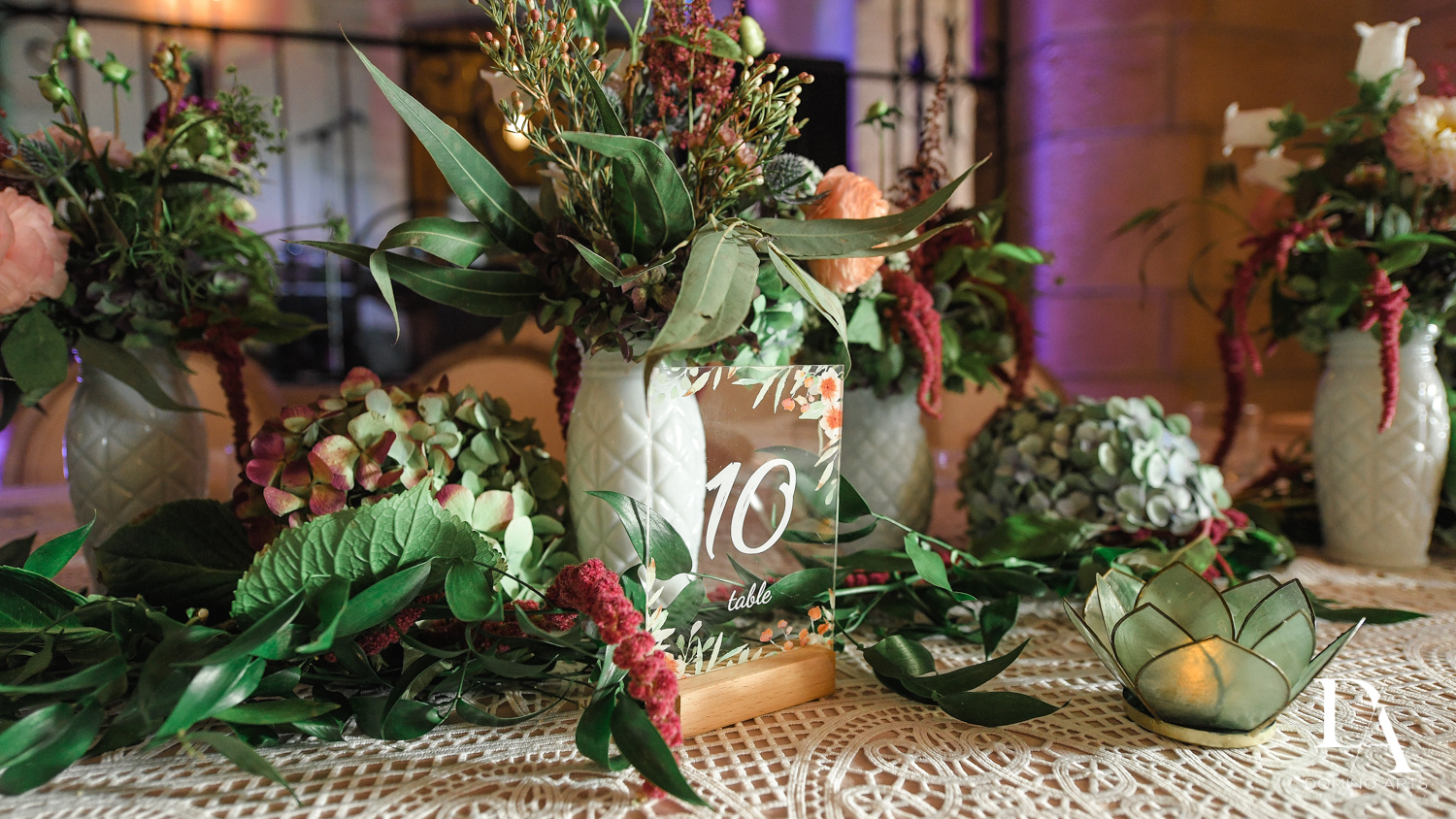 floral decor at Vintage Garden Wedding at Flagler Museum Palm Beach by Domino Arts Photography