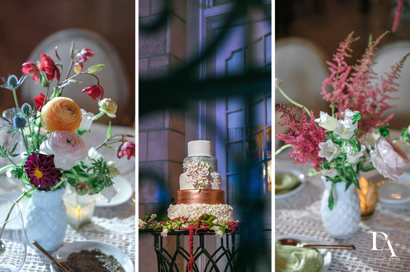 pastel flowers at Vintage Garden Wedding at Flagler Museum Palm Beach by Domino Arts Photography