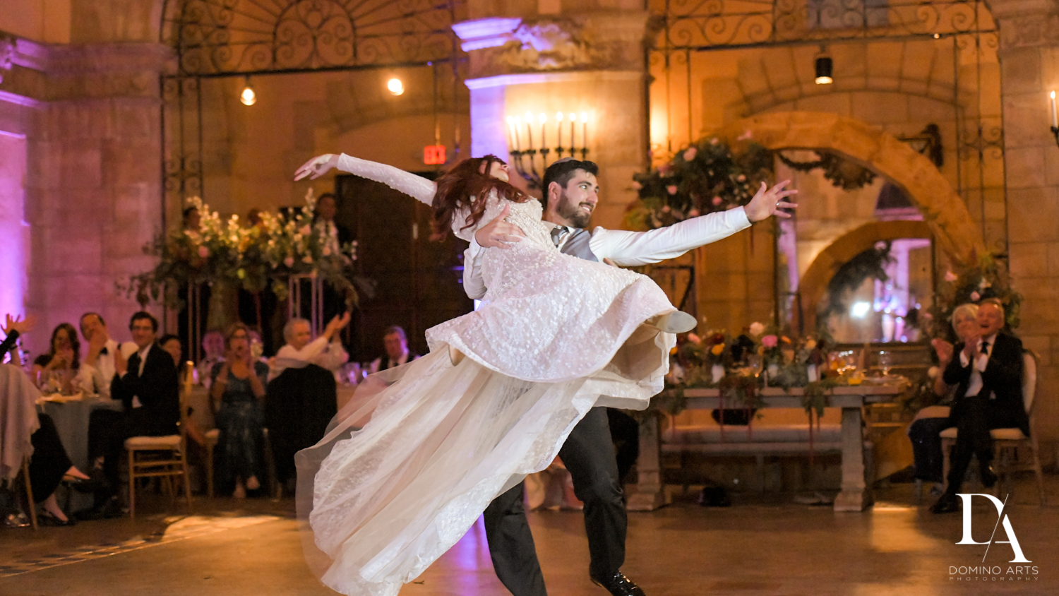 first dance at Vintage Garden Wedding at Flagler Museum Palm Beach by Domino Arts Photography