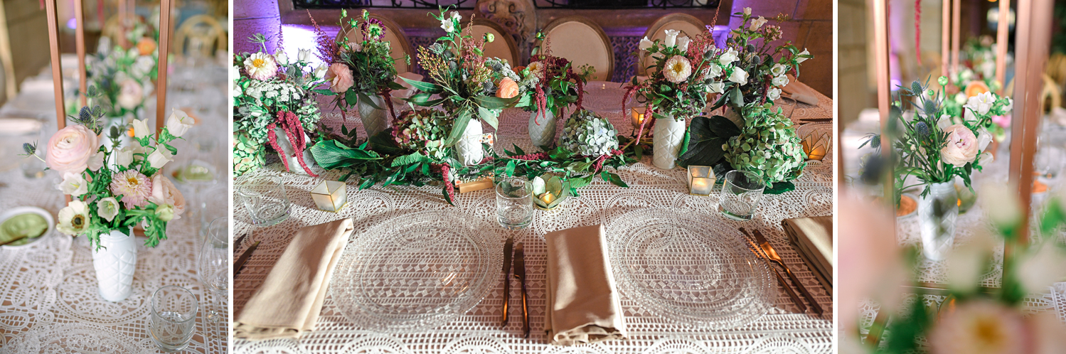 floral table setting at Vintage Garden Wedding at Flagler Museum Palm Beach by Domino Arts Photography