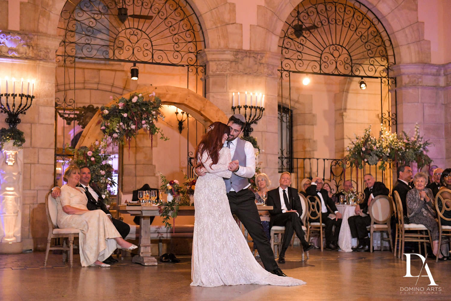 dancing at Vintage Garden Wedding at Flagler Museum Palm Beach by Domino Arts Photography