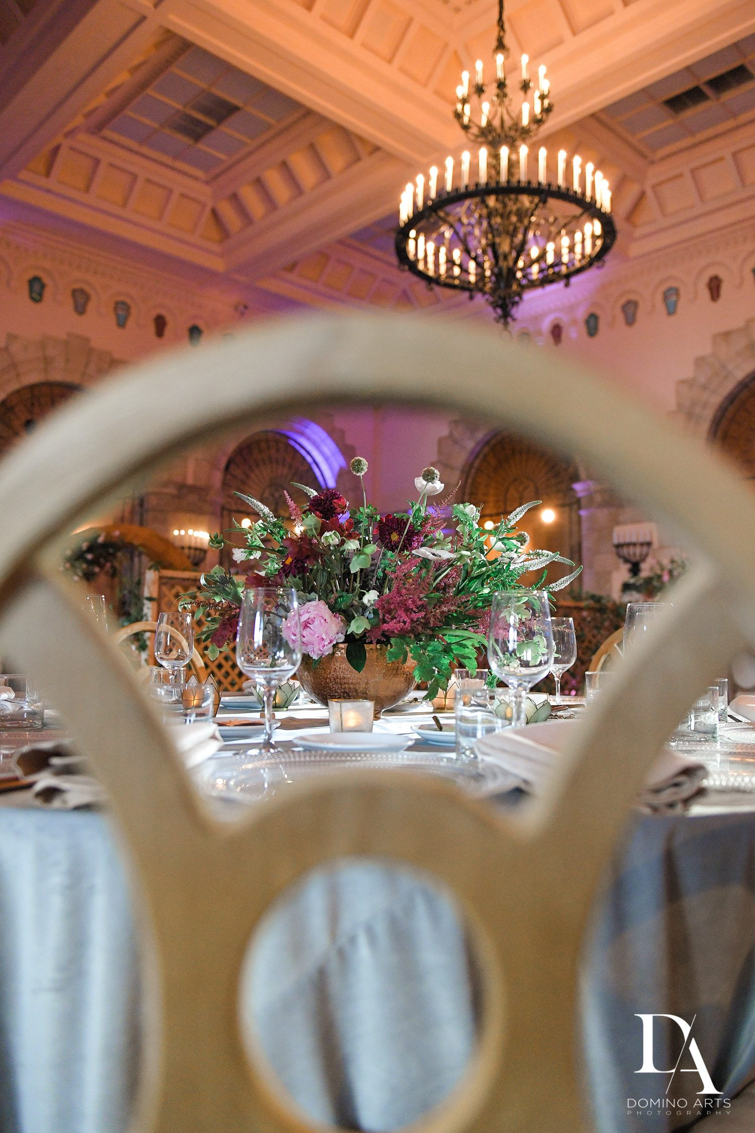 creative decor at Vintage Garden Wedding at Flagler Museum Palm Beach by Domino Arts Photography