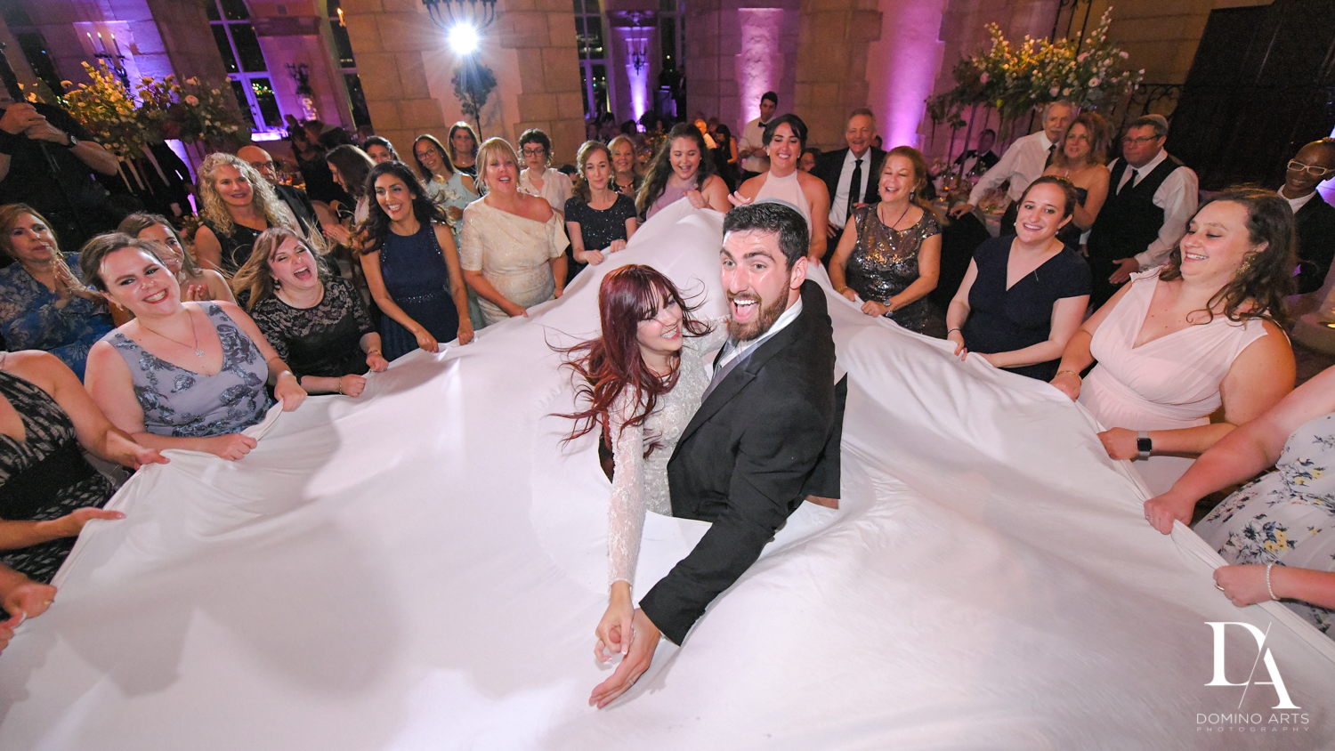fun reception at Vintage Garden Wedding at Flagler Museum Palm Beach by Domino Arts Photography