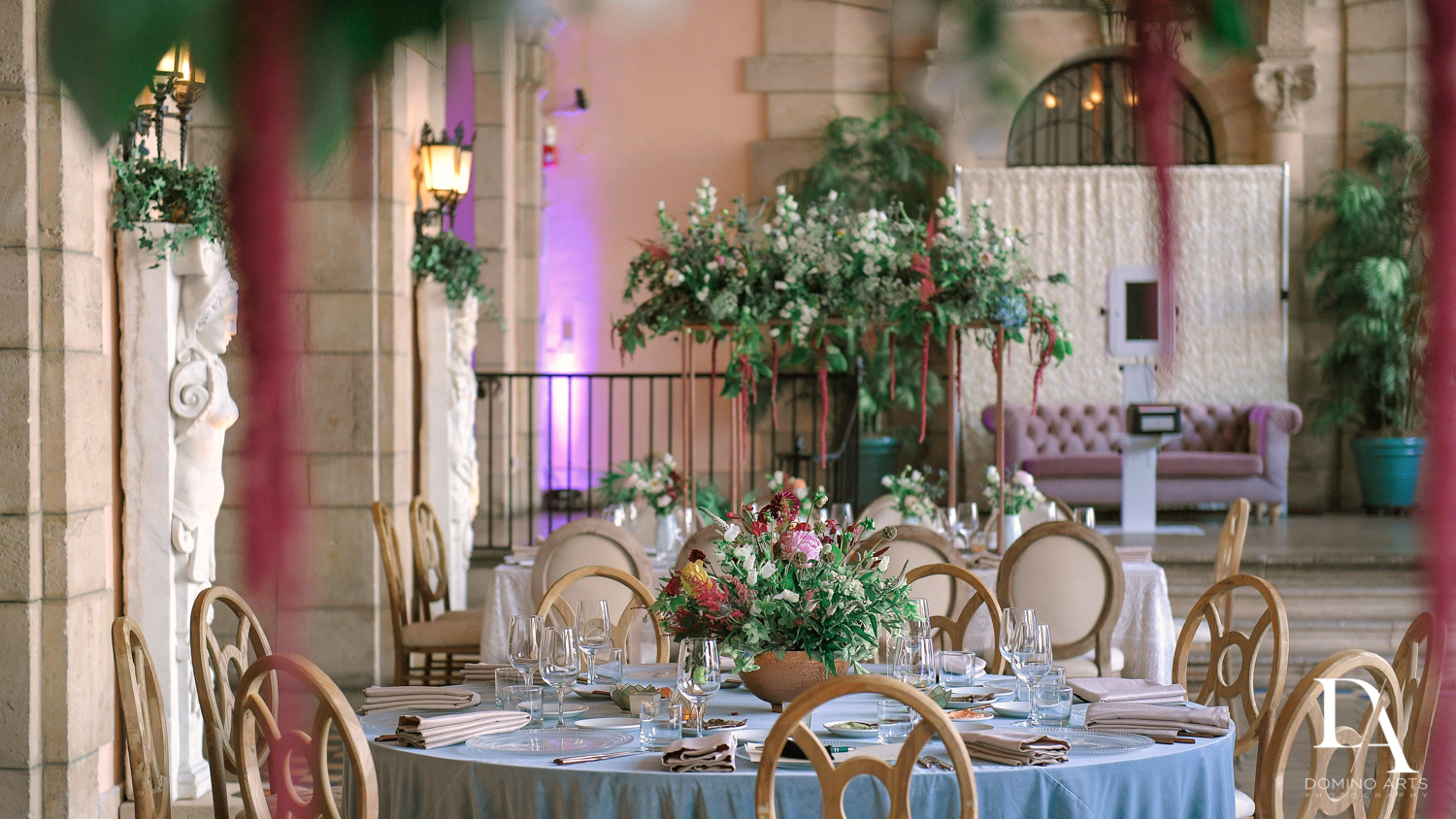 floral tables at Vintage Garden Wedding at Flagler Museum Palm Beach by Domino Arts Photography