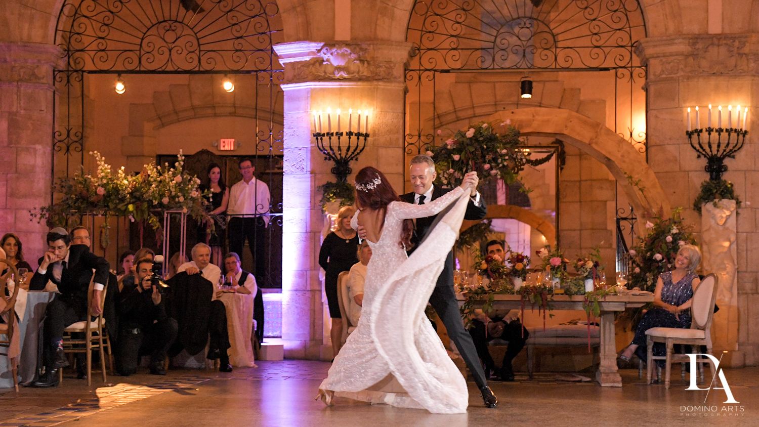 choreographed parent dance at Vintage Garden Wedding at Flagler Museum Palm Beach by Domino Arts Photography