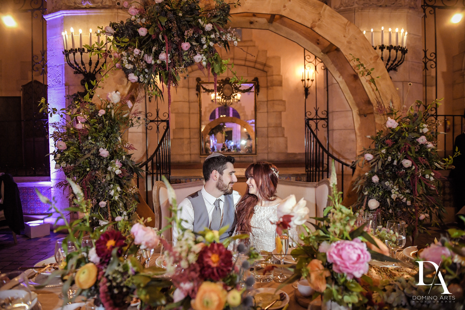 romantic couple and flowers at Vintage Garden Wedding at Flagler Museum Palm Beach by Domino Arts Photography