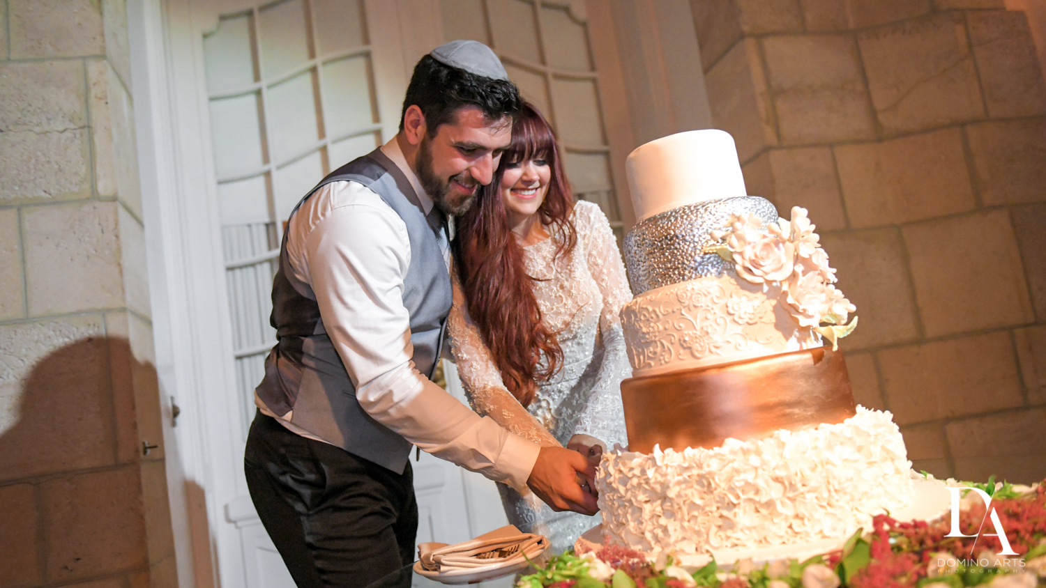 wedding cake at Vintage Garden Wedding at Flagler Museum Palm Beach by Domino Arts Photography