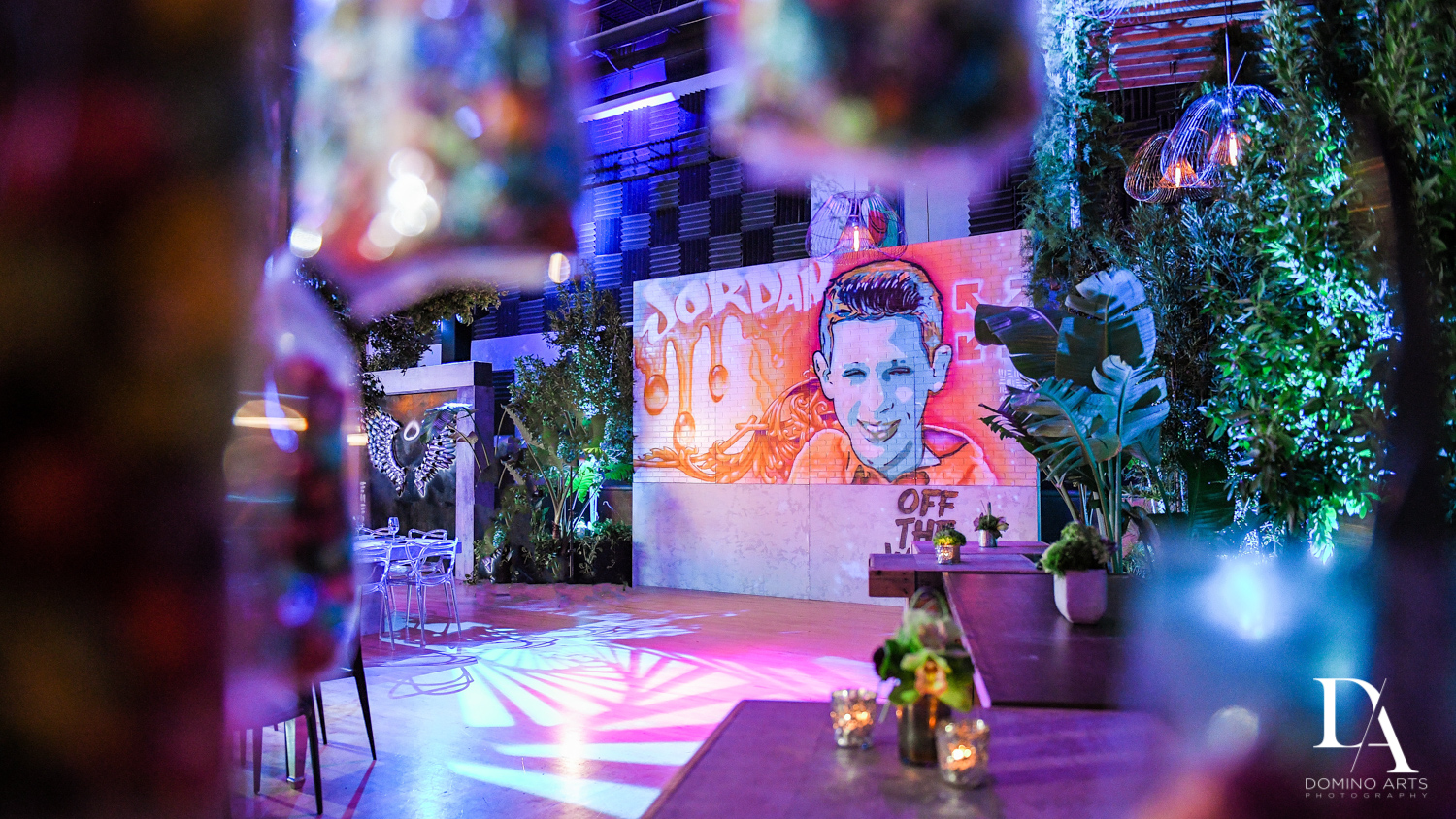 amazing table decor at Urban Graffiti BNai Mitzvah with celebrity Shaq at Xtreme Action Park by Domino Arts Photography