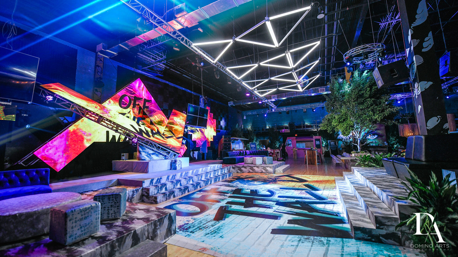 best party decor at Urban Graffiti BNai Mitzvah with celebrity Shaq at Xtreme Action Park by Domino Arts Photography