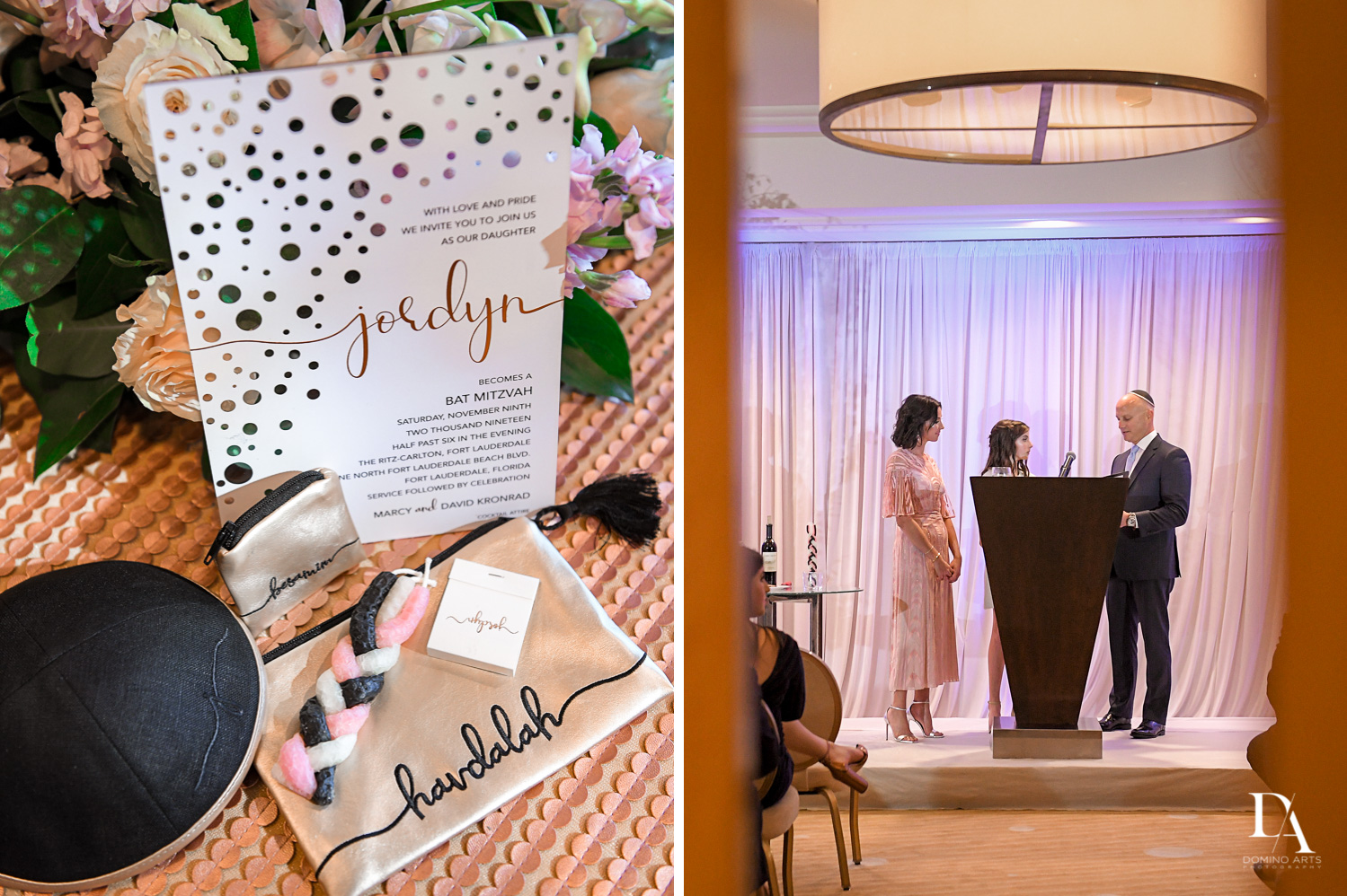 jewish traditions at Masquerade Ball Bat Mitzvah at Ritz Carlton Fort Lauderdale by Domino Arts Photography