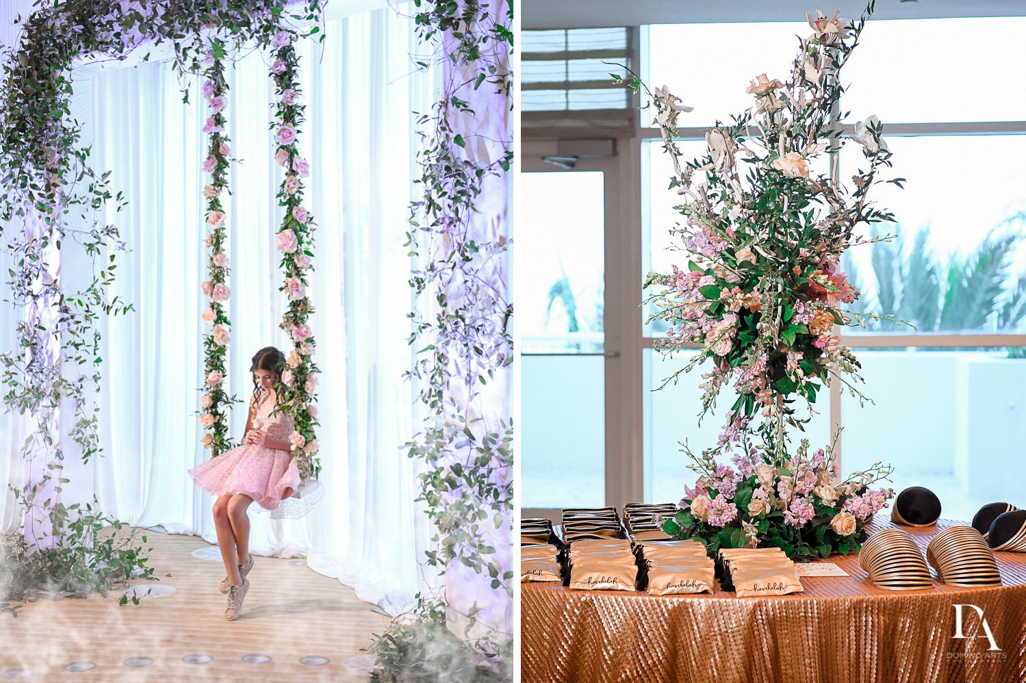 flower swing at Masquerade Ball Bat Mitzvah at Ritz Carlton Fort Lauderdale by Domino Arts Photography