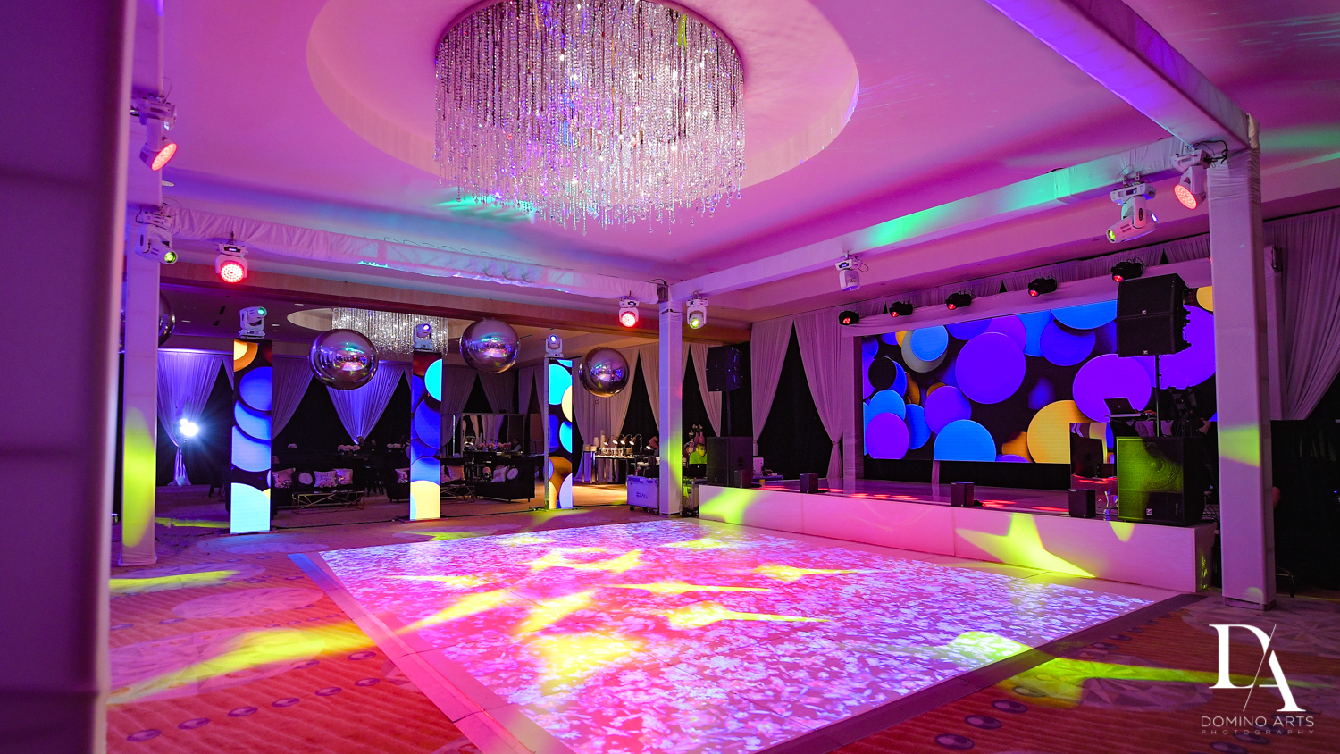 colorful decor at Masquerade Ball Bat Mitzvah at Ritz Carlton Fort Lauderdale by Domino Arts Photography