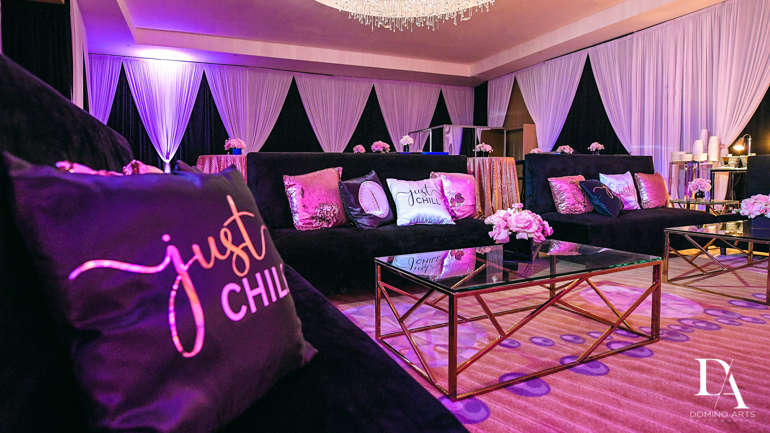 customized pillows at Masquerade Ball Bat Mitzvah at Ritz Carlton Fort Lauderdale by Domino Arts Photography