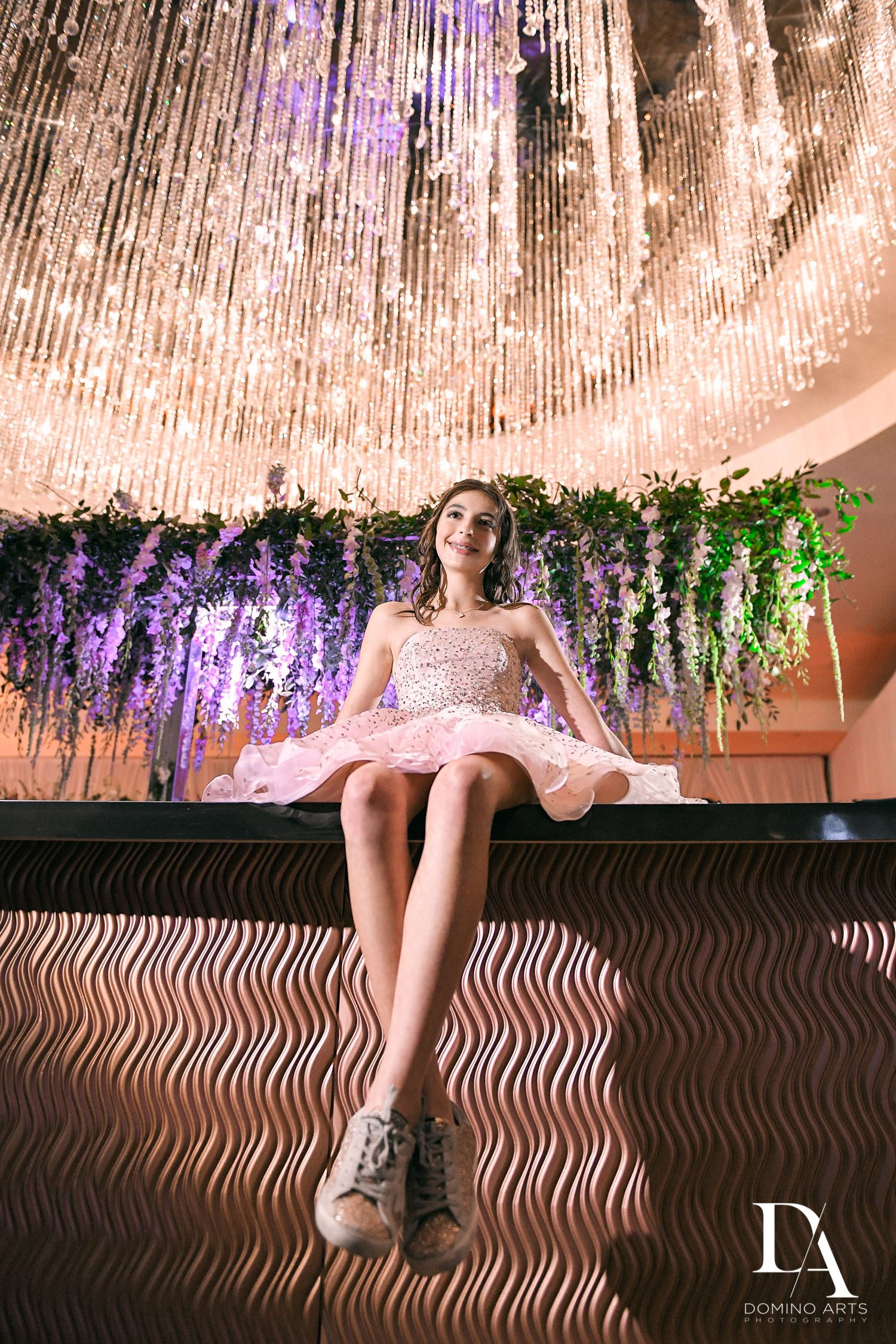 custom rose gold bar at Masquerade Ball Bat Mitzvah at Ritz Carlton Fort Lauderdale by Domino Arts Photography