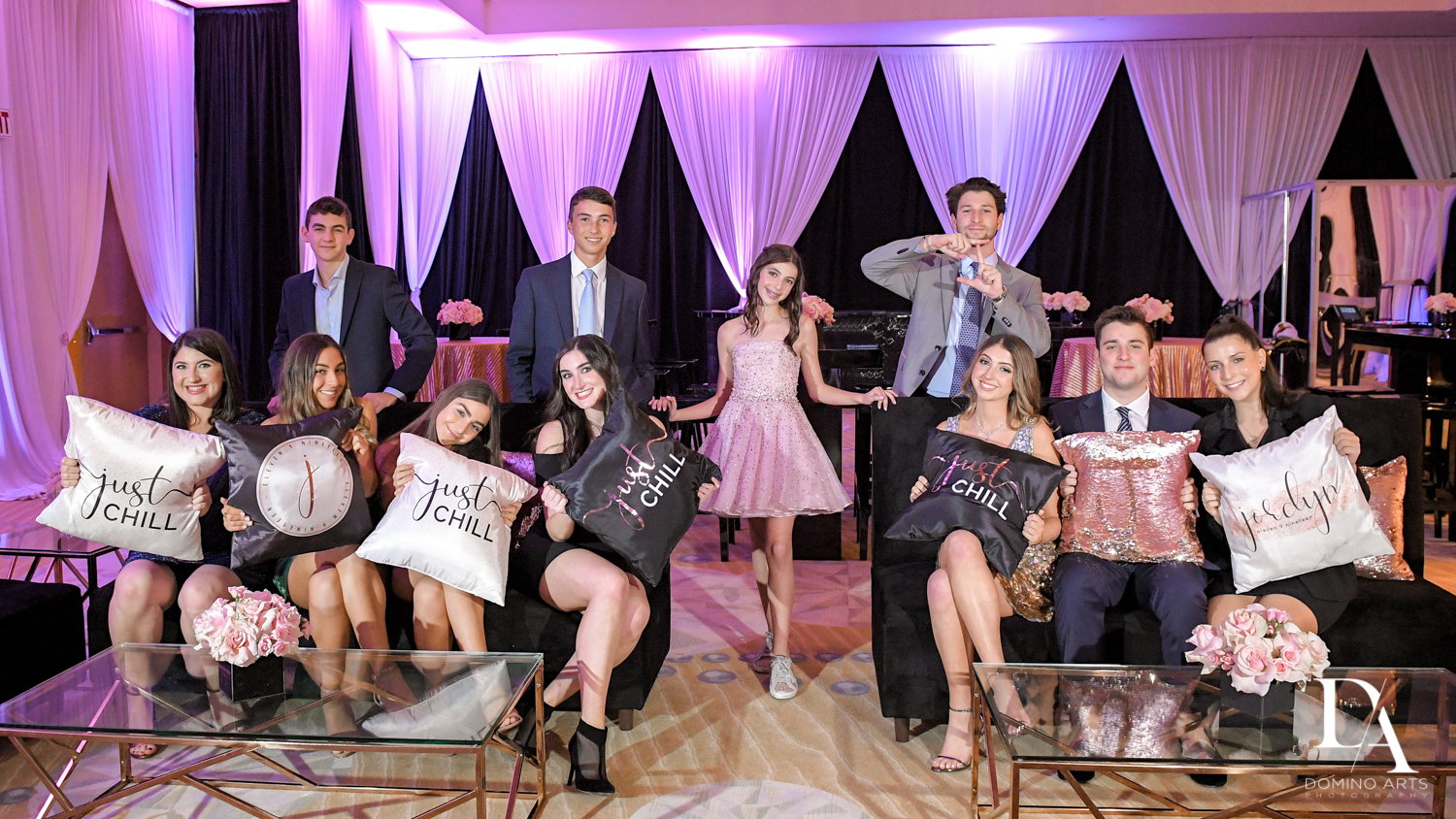 fun family pictures at Masquerade Ball Bat Mitzvah at Ritz Carlton Fort Lauderdale by Domino Arts Photography