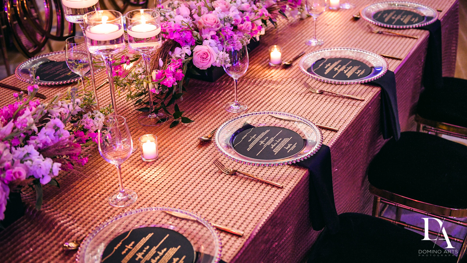 luxury table setting at Masquerade Ball Bat Mitzvah at Ritz Carlton Fort Lauderdale by Domino Arts Photography