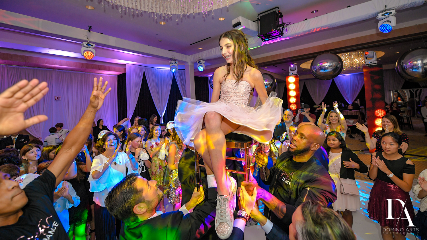 Hora at Masquerade Ball Bat Mitzvah at Ritz Carlton Fort Lauderdale by Domino Arts Photography