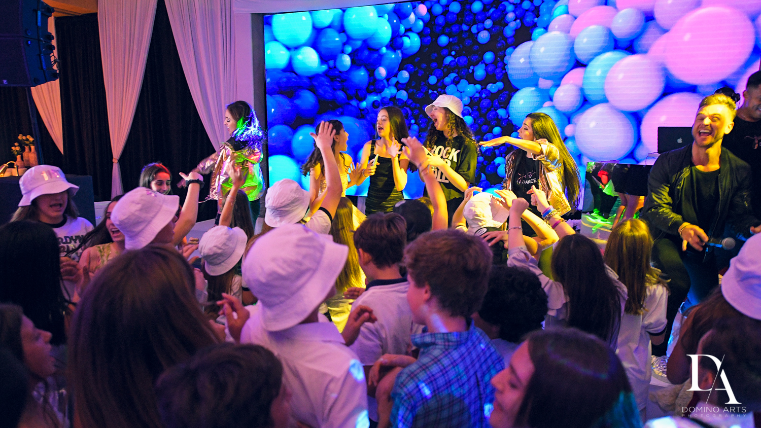 dancing at Masquerade Ball Bat Mitzvah at Ritz Carlton Fort Lauderdale by Domino Arts Photography