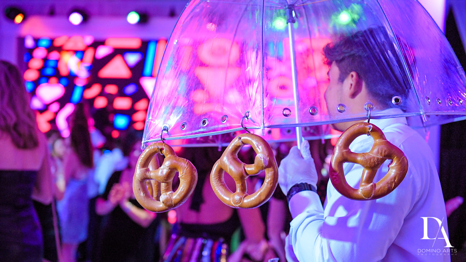 Pretzel umbrella at Masquerade Ball Bat Mitzvah at Ritz Carlton Fort Lauderdale by Domino Arts Photography