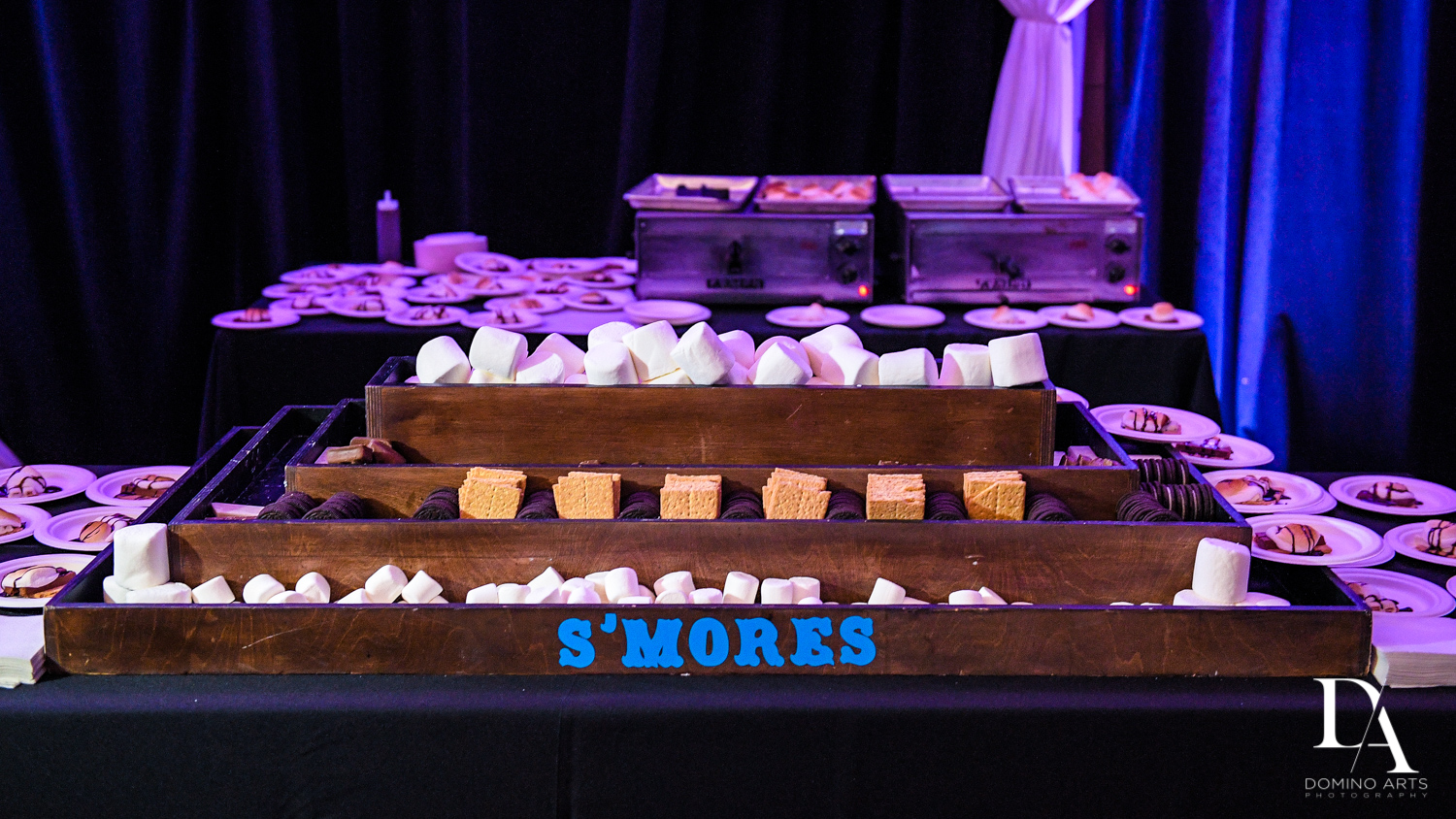 Smores station at Masquerade Ball Bat Mitzvah at Ritz Carlton Fort Lauderdale by Domino Arts Photography