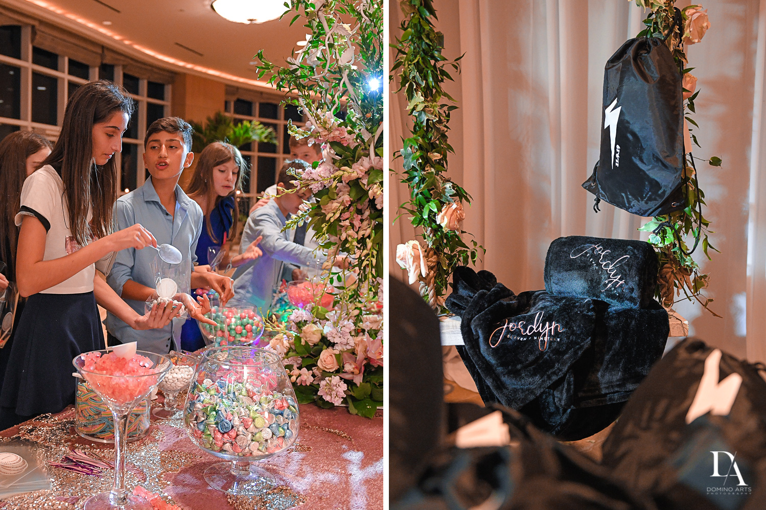party favors and candy at Masquerade Ball Bat Mitzvah at Ritz Carlton Fort Lauderdale by Domino Arts Photography