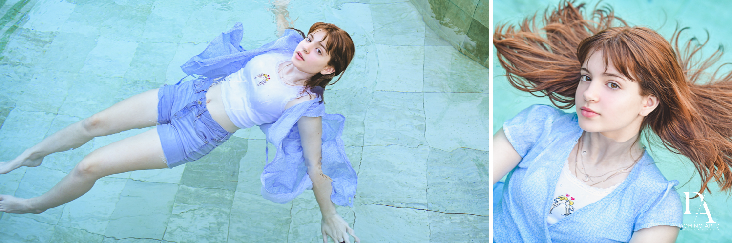 Fun in pool at Bat Mitzvah Pre Session in Miami Beach by Domino Arts Photography