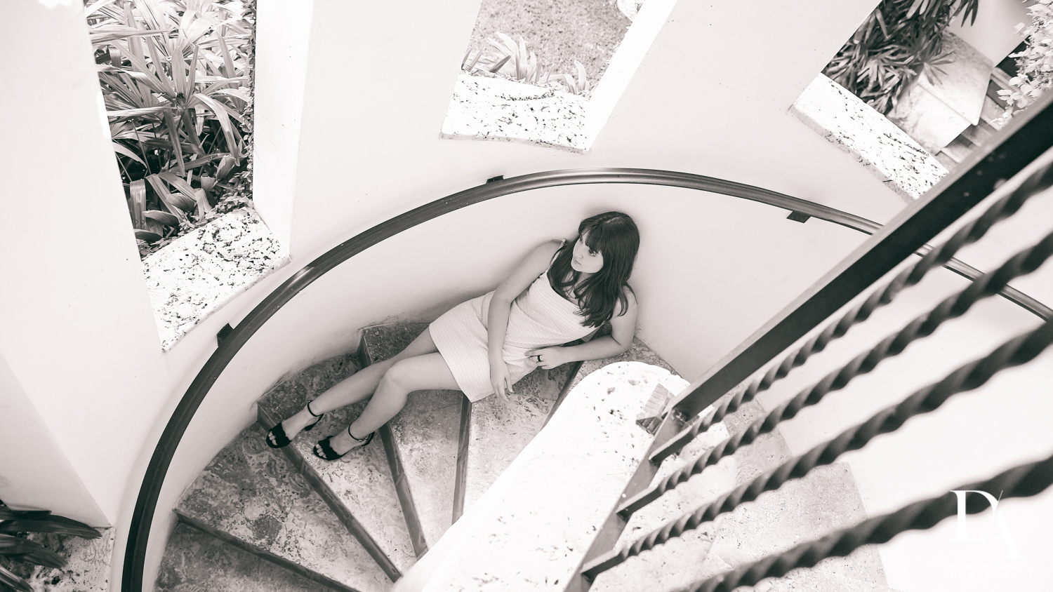 winding staircae at Bat Mitzvah Pre Session in Miami Beach by Domino Arts Photography