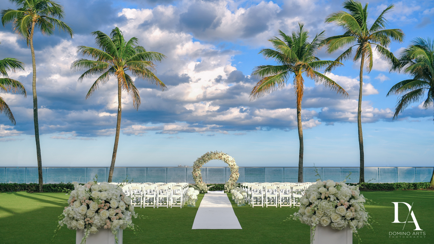 ceremony decor at Extravagant Wedding at The Breakers Palm Beach by Domino Arts Photography