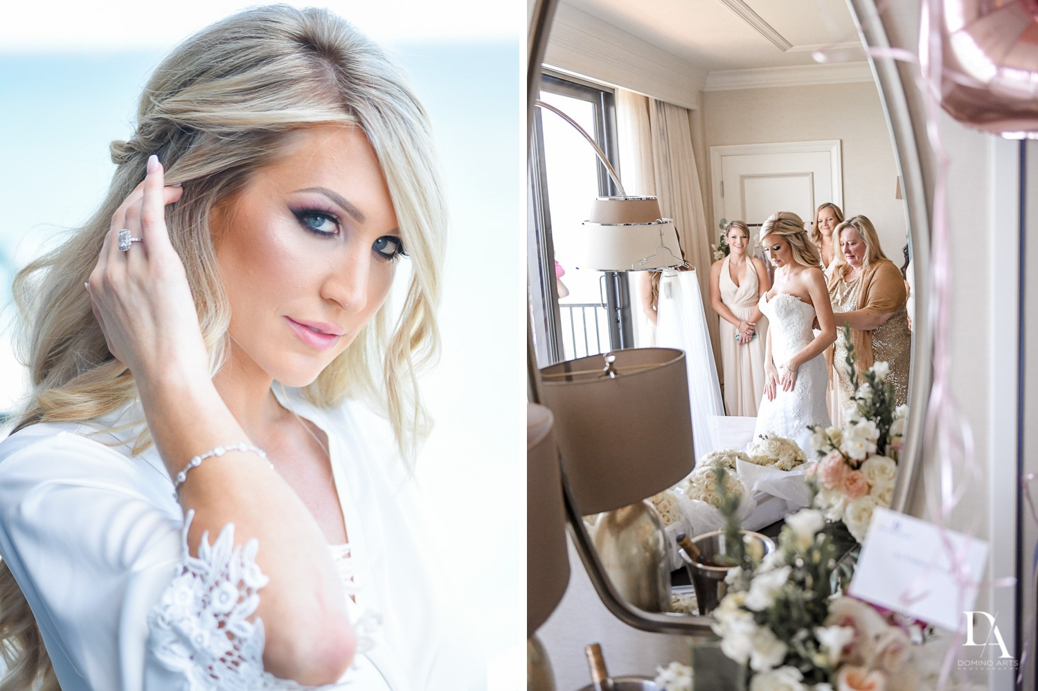 getting ready at Extravagant Wedding at The Breakers Palm Beach by Domino Arts Photography