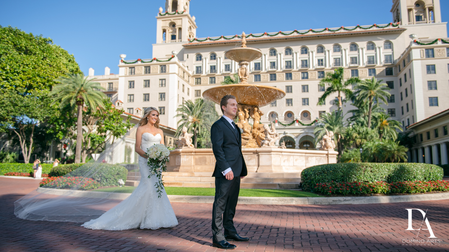 first look at Extravagant Wedding at The Breakers Palm Beach by Domino Arts Photography