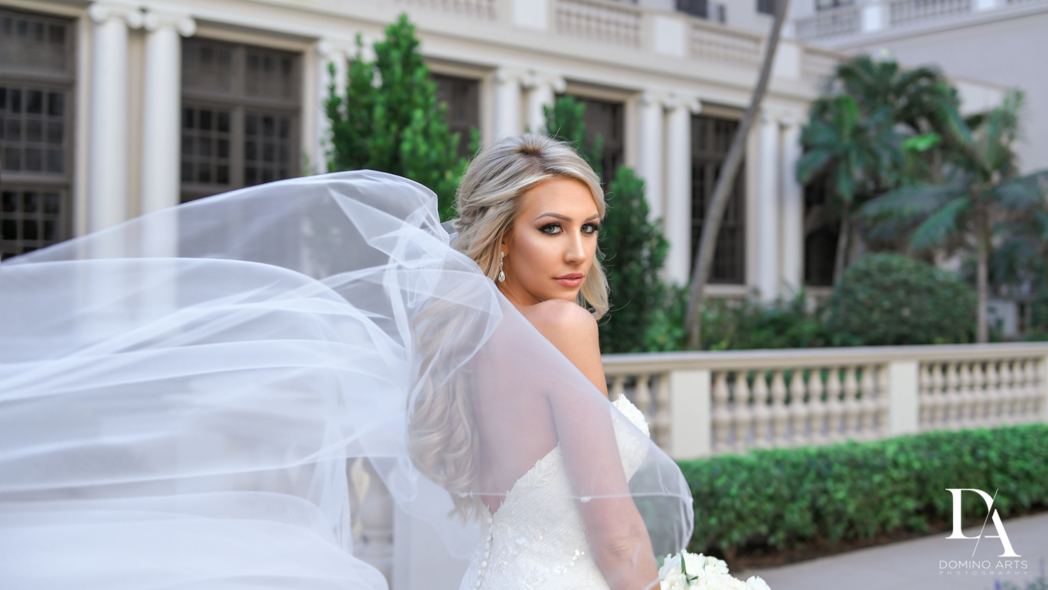 sexy bride at Extravagant Wedding at The Breakers Palm Beach by Domino Arts Photography