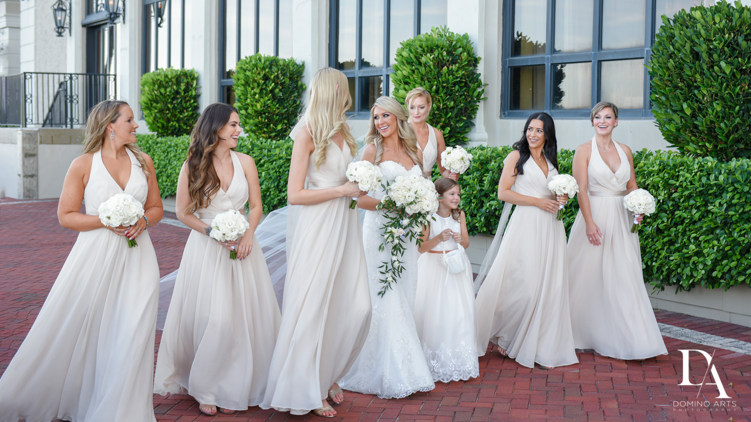 bridesmaids at Extravagant Wedding at The Breakers Palm Beach by Domino Arts Photography