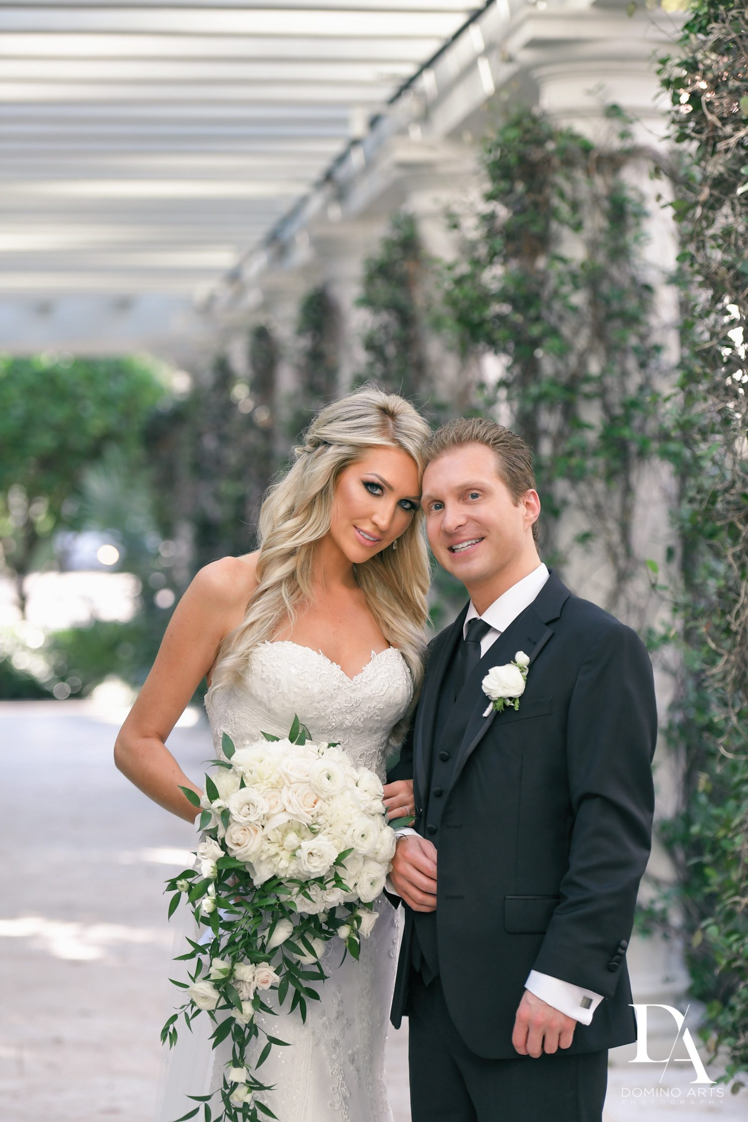 bride and groom at Extravagant Wedding at The Breakers Palm Beach by Domino Arts Photography