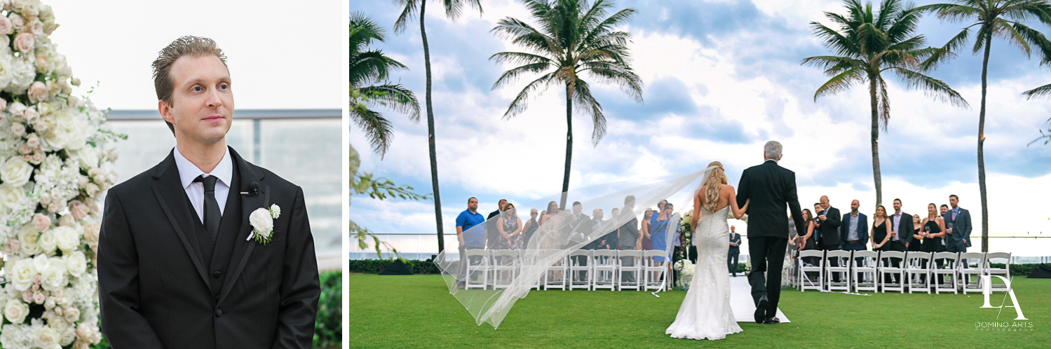 beach side ceremony at Extravagant Wedding at The Breakers Palm Beach by Domino Arts Photography