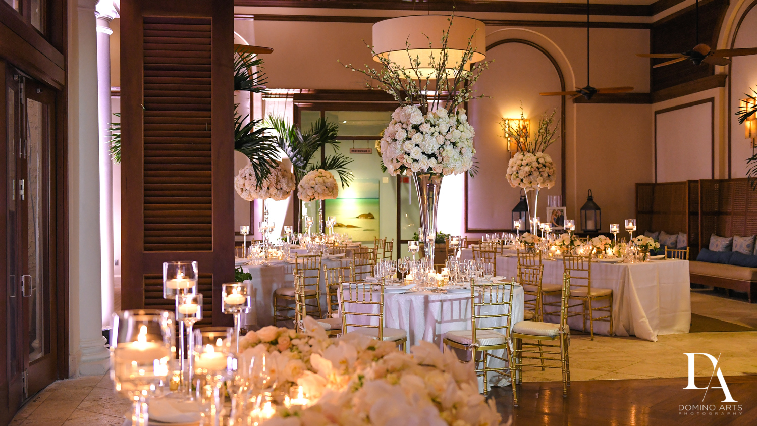 luxury decor at Extravagant Wedding at The Breakers Palm Beach by Domino Arts Photography