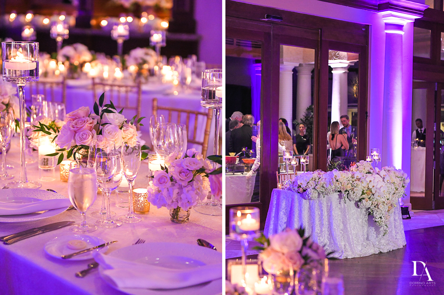 Purple decor at Extravagant Wedding at The Breakers Palm Beach by Domino Arts Photography