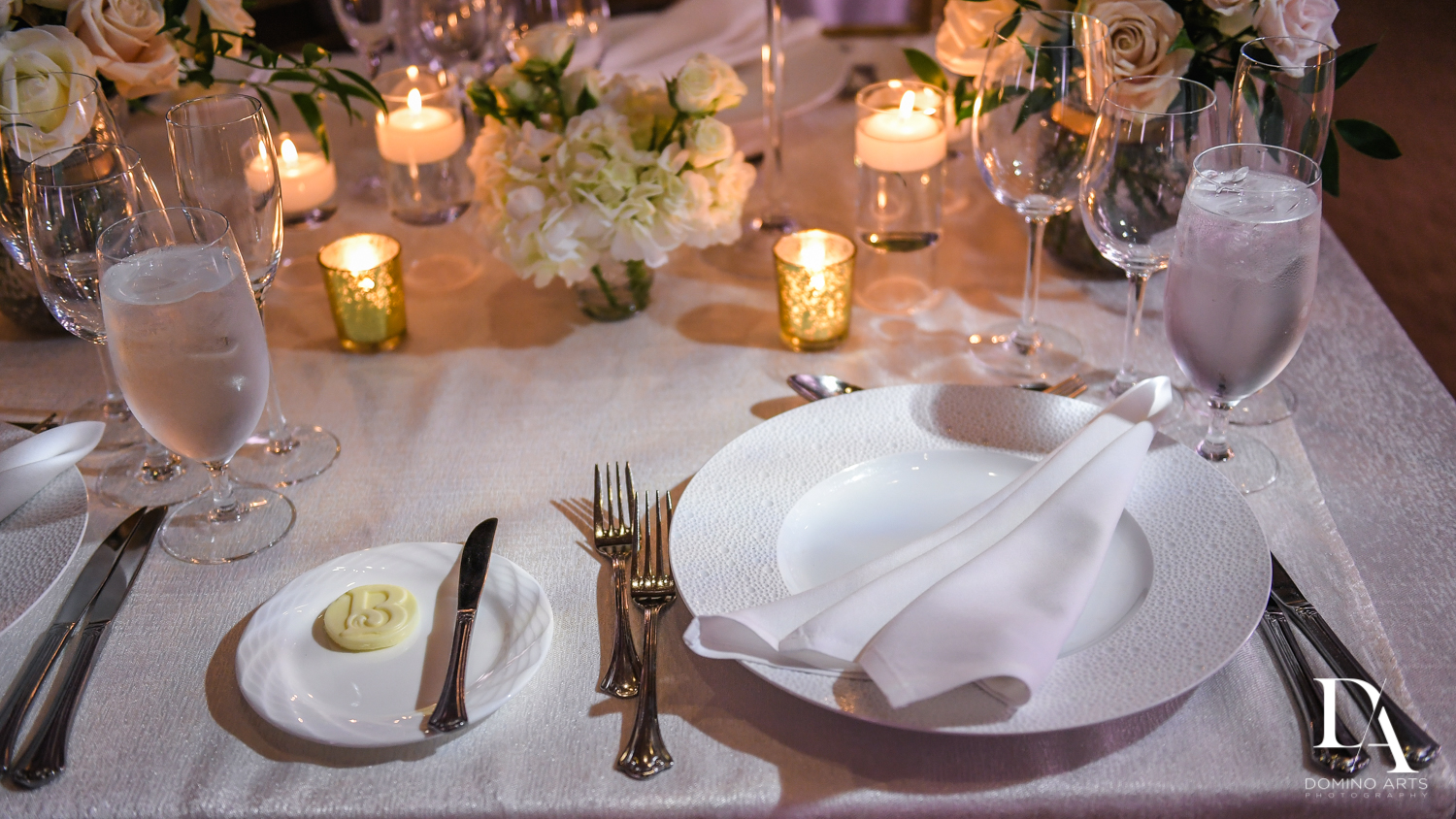 table setting at Extravagant Wedding at The Breakers Palm Beach by Domino Arts Photography