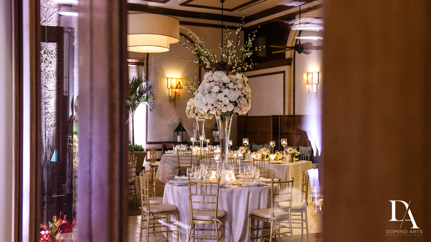 white flowers at Extravagant Wedding at The Breakers Palm Beach by Domino Arts Photography