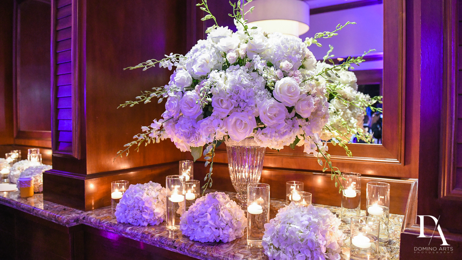 flowers centerpieces at Extravagant Wedding at The Breakers Palm Beach by Domino Arts Photography