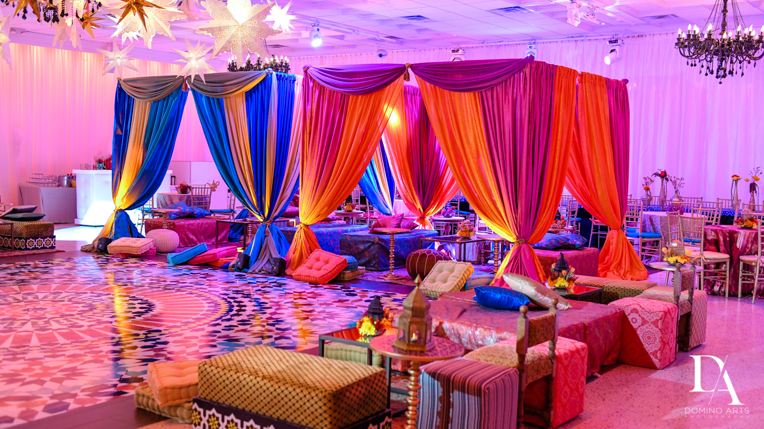colorful decor at Exotic Moroccan BNai Mitzvah at Lavan by Domino Arts Photography