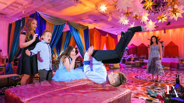 kids playing fun at Exotic Moroccan BNai Mitzvah at Lavan by Domino Arts Photography