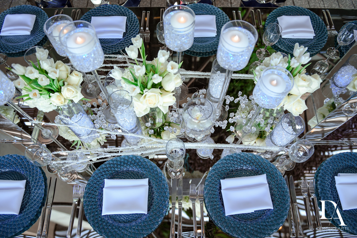 table decor at Fire & Ice B'Nai Mitzvah at Perez Art Museum Miami by Domino Arts Photography