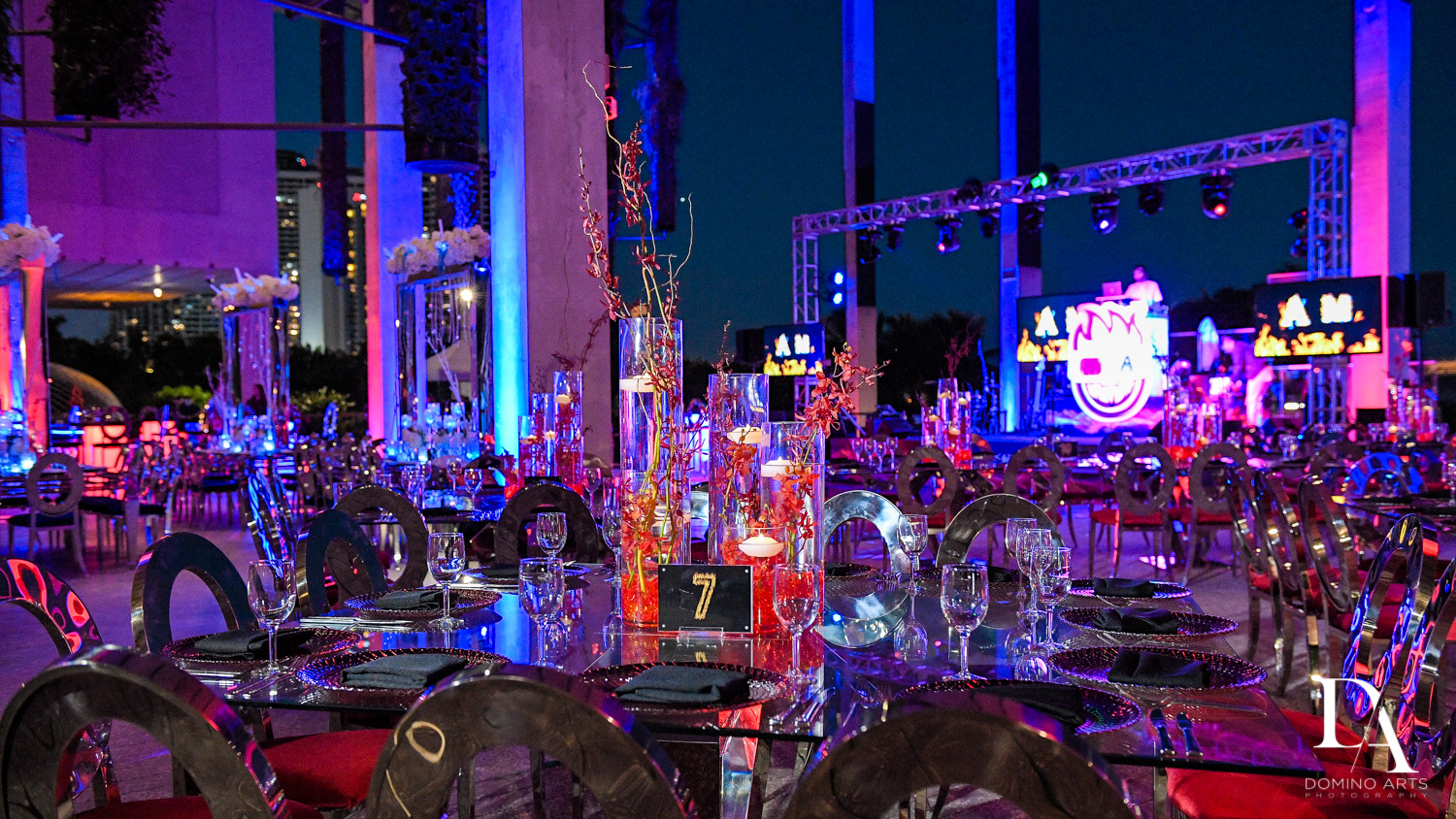 luxury decor at Fire & Ice B'Nai Mitzvah at Perez Art Museum Miami by Domino Arts Photography