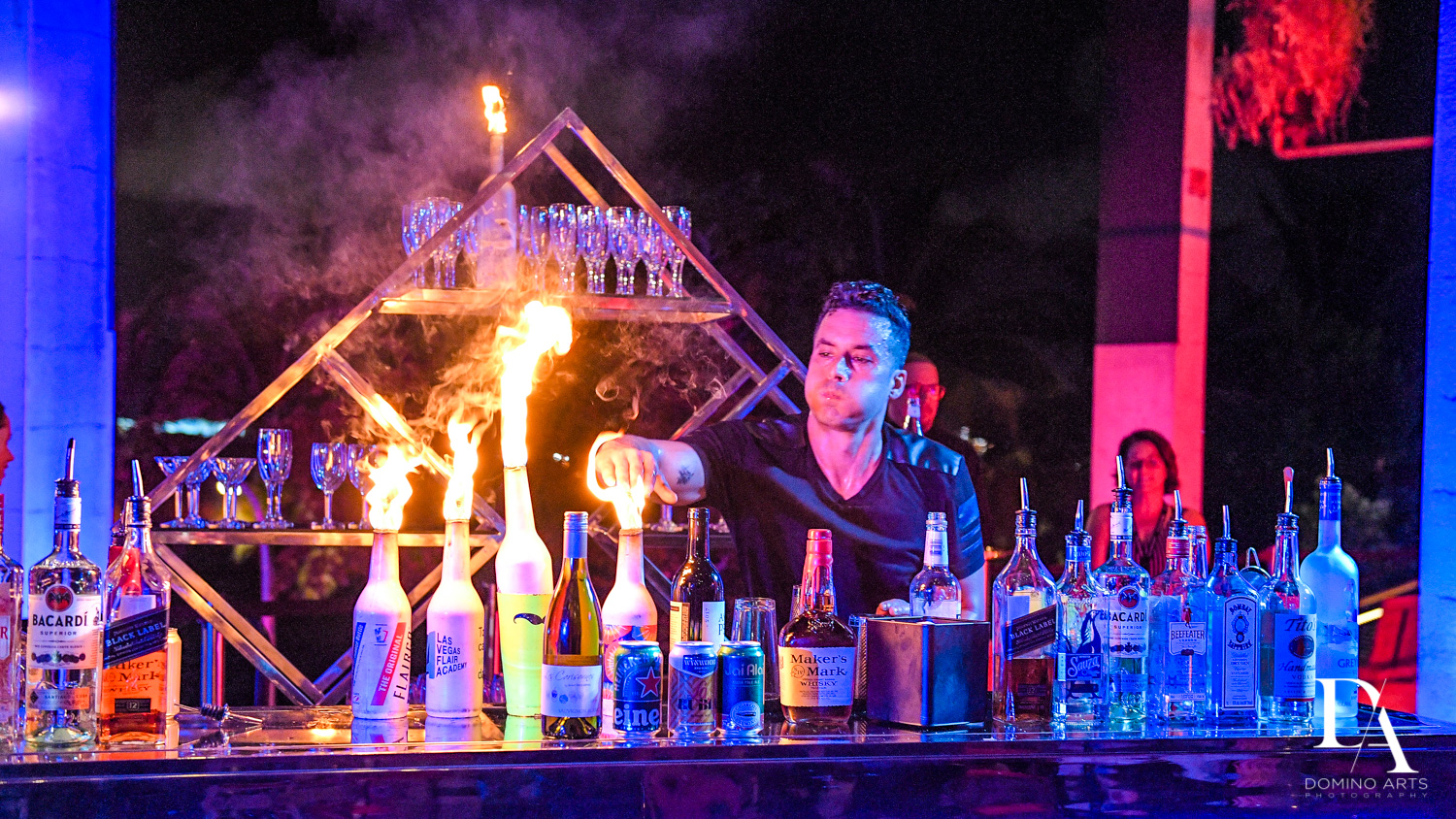 fire show bartender at Fire & Ice B'Nai Mitzvah at Perez Art Museum Miami by Domino Arts Photography