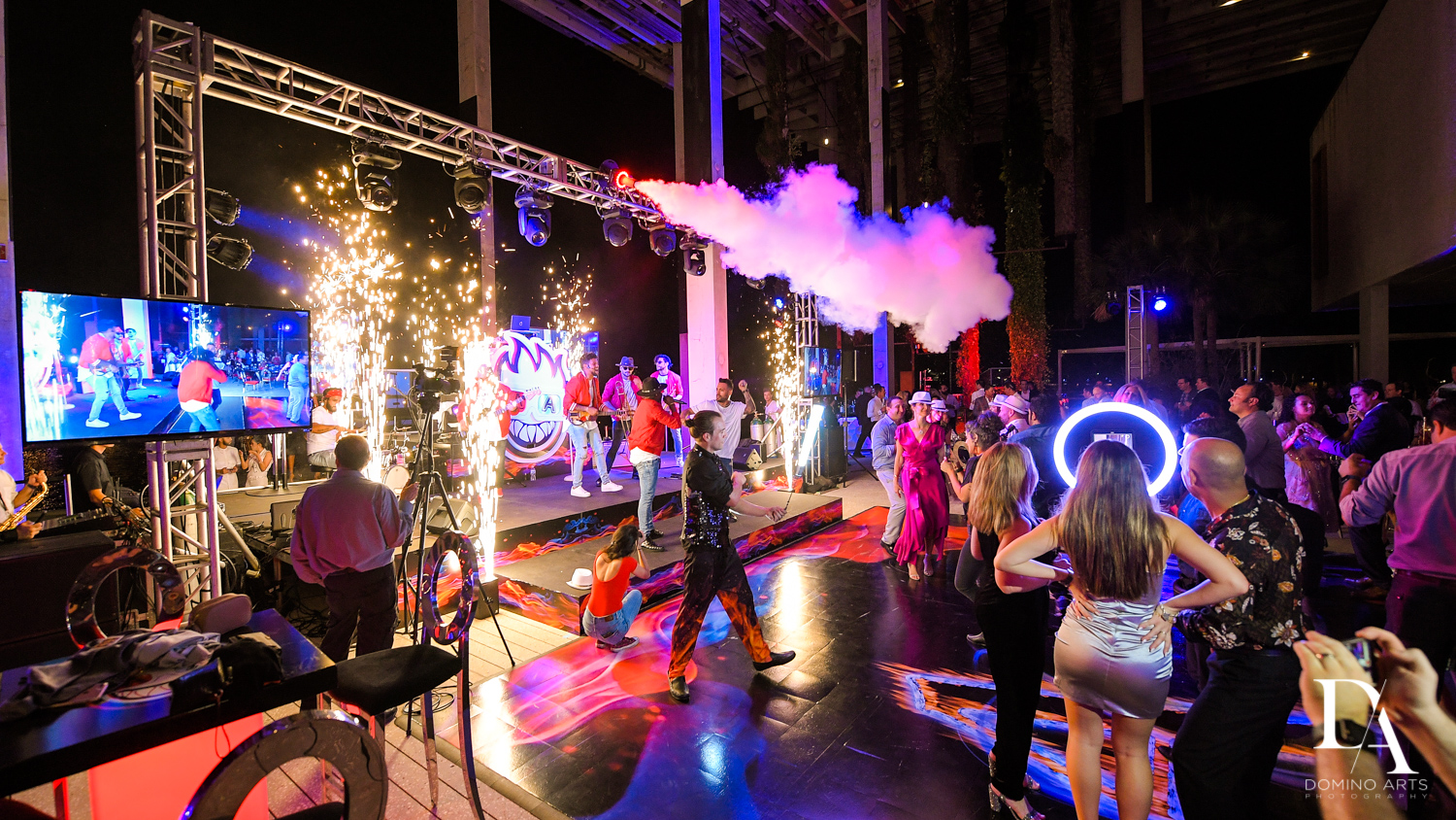 smoke effects at Fire & Ice B'Nai Mitzvah at Perez Art Museum Miami by Domino Arts Photography