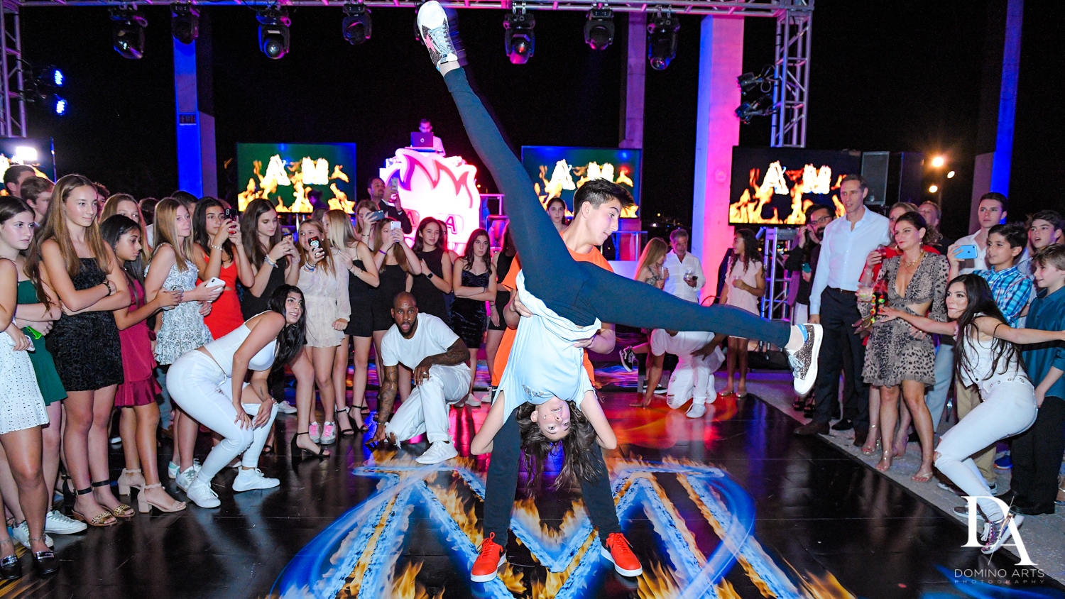 choreographed siblings dance at Fire & Ice B'Nai Mitzvah at Perez Art Museum Miami by Domino Arts Photography