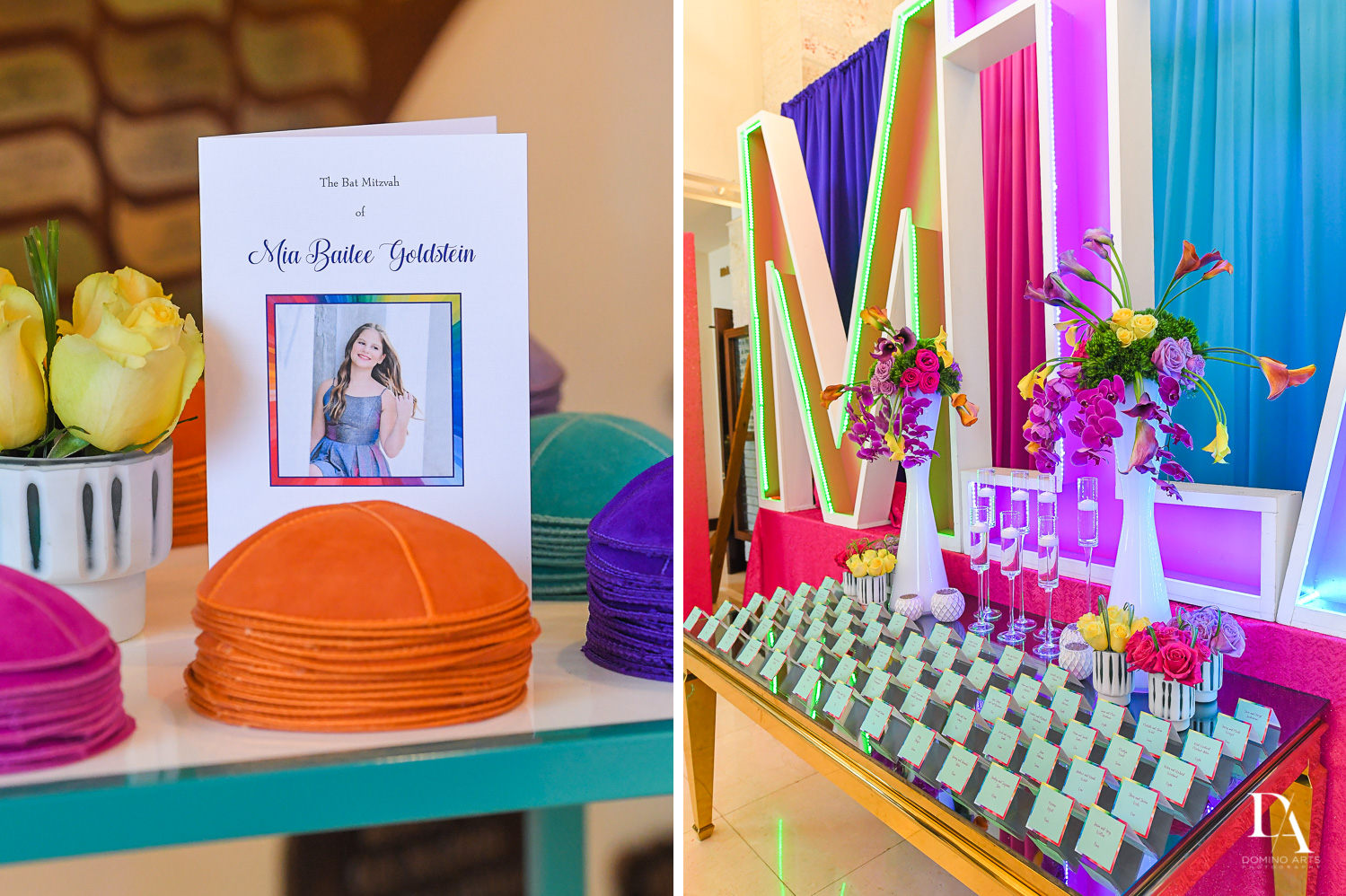 welcome table at Colorful Rainbow BurstBat Mitzvah at Aventura Turnberry Jewish Center by Domino Arts Photography