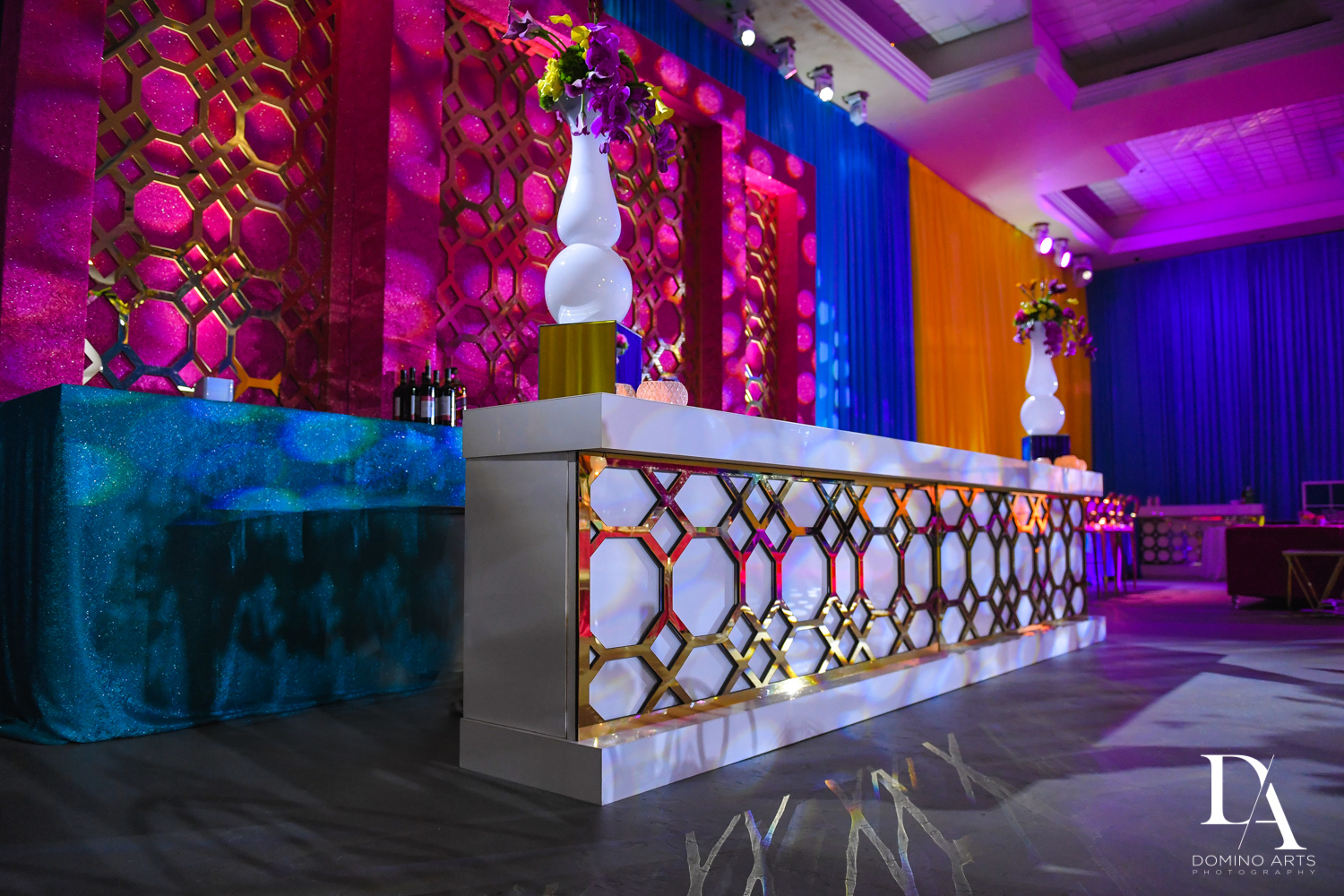 custom gold bar at Colorful Rainbow BurstBat Mitzvah at Aventura Turnberry Jewish Center by Domino Arts Photography