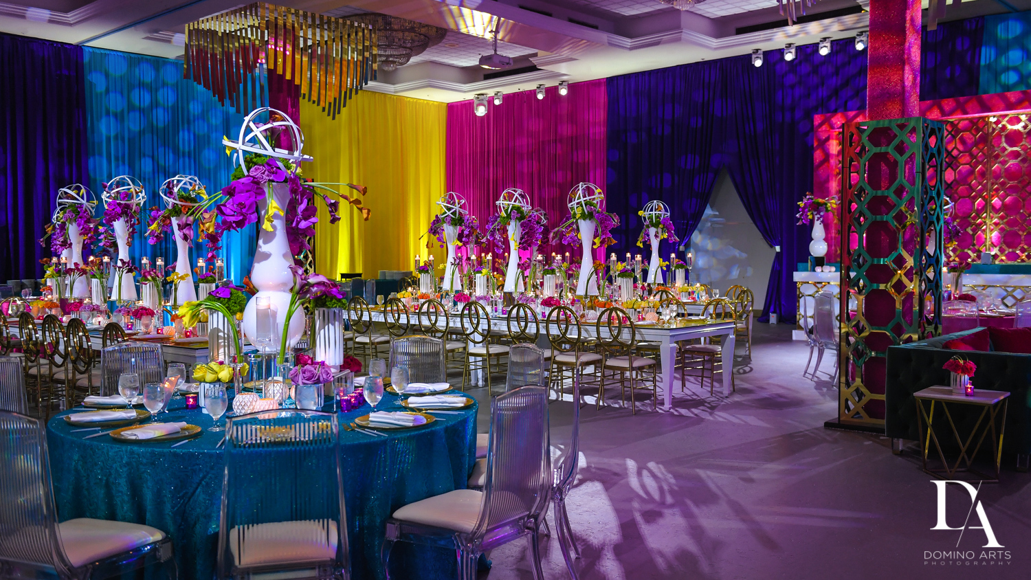 creative decor at Colorful Rainbow BurstBat Mitzvah at Aventura Turnberry Jewish Center by Domino Arts Photography